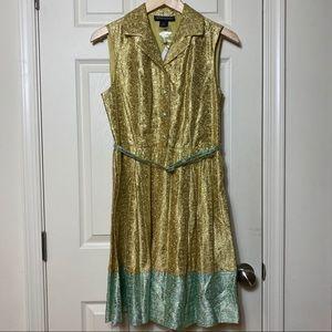 Duro Olowu sleeveless gold/teal lamé belted dress